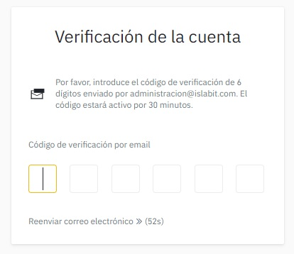 verificación de la cuenta